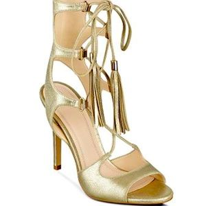 Marc Fisher Gold Suede Lace up sandals